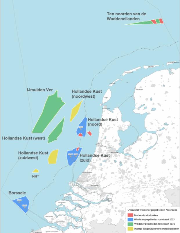 windmolenparken kaart zee Nederland
